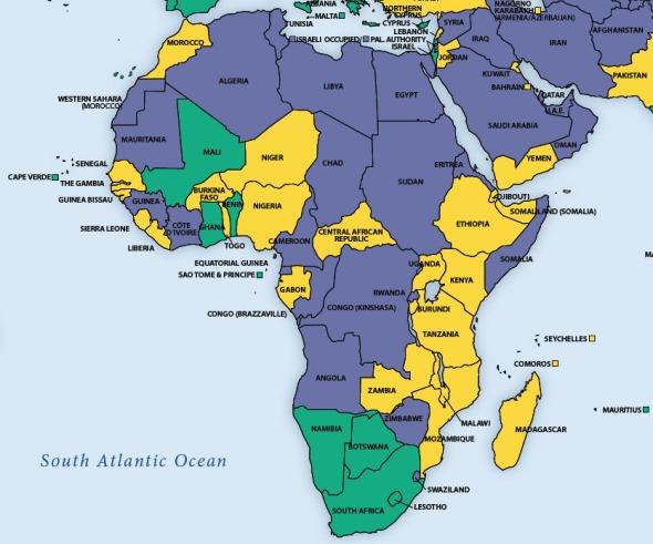 Die grüne Flächen, welche demokratische Rechtsstaaten kennzeichnen, nehmen auf der Afrika-Karte von Freedom House zu.