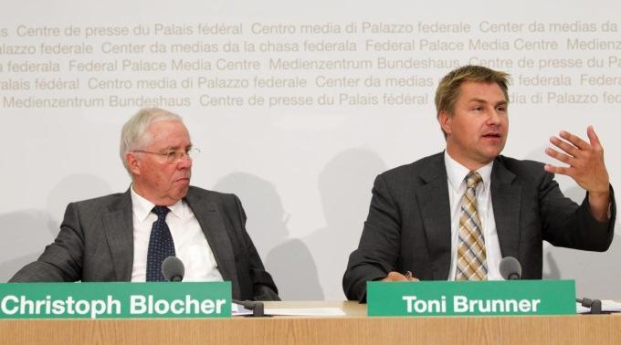 Die grossen Verlierer der europapolitischen Abstimmungen: SVP-Präsident Toni Brunner und Christoph Blocher.