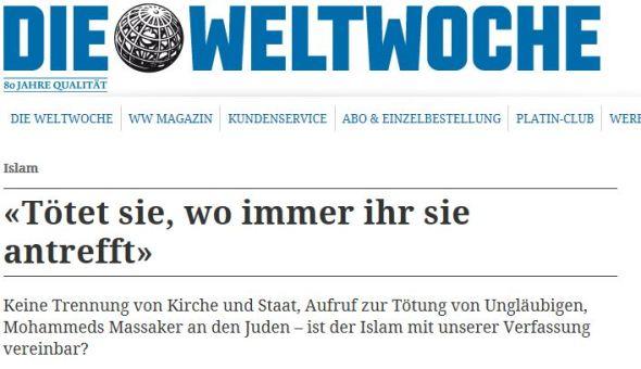 Beispiel eines islamfeindlichen Artikels in der Weltwoche.