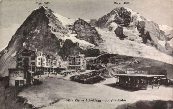 Postkarte von der Kleinen Scheidegg aus dem Jahr 1912.
