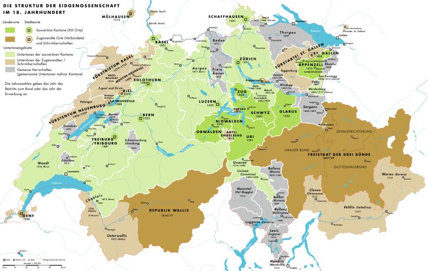 Die Eidgenossenschaft im 18. Jahrhundert: Viele Untertanengebiete ohne politische Rechte.