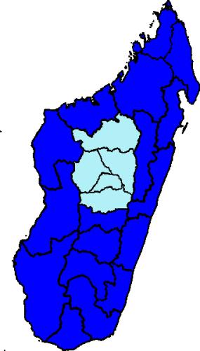 Präsidentschaftswahlen Madagaskar 2013: Hellblau: Robinson; Dunkelblau: Rajaonarimampianina