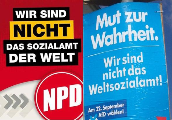 Ähnliche Plakate: AfD und NPD.